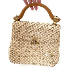 VINTAGE | Woven Straw Wood Handle Bag from Italy